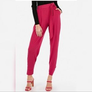 Express Mid Rise Jersey Sash Pant in Cerise Pink